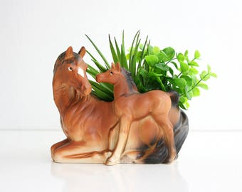 Vintage Ceramic Horse Planter / Mid Century Planter / Horse Flower Pot / Horse and Foal Plant Pot