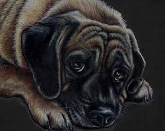 Mastiff Puppy Art Card