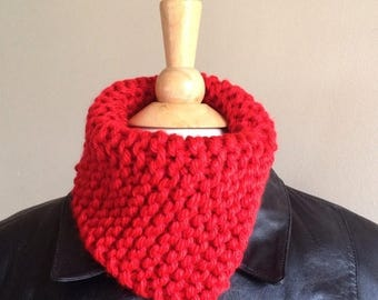 Hand knit scarf or cowl scarf - Bright red warm winter neckwarmer knit with chunky yarn - circle scarf - ready to ship