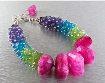 25 OFF Pink Moonstone, Green Chalcedony, Amethyst, Blue Quartz Colorful Cluster Bracelet