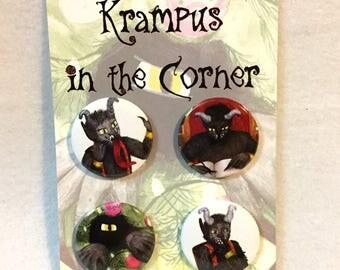Krampus in the Corner button set