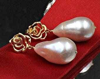 SALE Nucleated Baroque Pearl Earrings Gold Vermeil Rose Post Wire Wrap Ivory Pearl Dangle Earring Ivory Luxury Nucleated Baroque Pearl Earri
