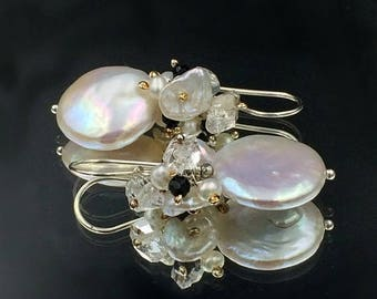 SALE Ivory Coin Pearl Earring Wire Wrap Cluster Keishi Pearl Black Spinel Herkimer Diamond Quartz Gemstones Sterling Silver Bridal Earring