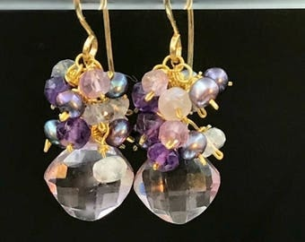30% SALE Amethyst Cluster Earrings Peacock Pearl Amethyst Iolite Wire Wrap 14kt Gold Fill Earring Peacock Pearl Cluster Pink Quartz February