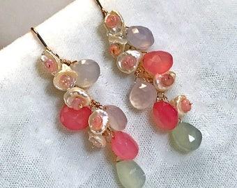 FLASH SALE Chalcedony Pearl Earrings Long Dangle Pastel Earrings Rose Gold Fill Multicolor Chalcedony Ethiopian Opal  Keishi Pearl  Boho Chi