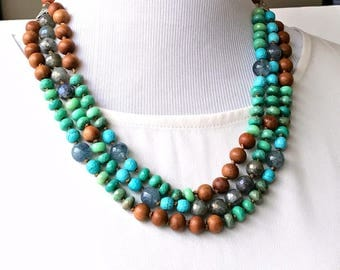 Turquoise Necklace Hand Knotted Multistrand Necklace Colorful Statement Choker Bold Gemstone Statement Necklace Triple Strand Necklace
