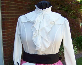 Civil War style ladies blouse Eggshell White cotton blend with ruffles in the front and around the neck