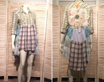 Upcycled Dress Tunic Plaid n Tiered Western Floral Duster Primitive Riding Jacket Eco Prairie Vintage Doilies Babydoll Upcycled Clothing M L
