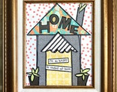 Happy home framed mixed media collage original wall art by Things With Wings