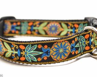 Black and Blue Floral Dog Collar / Marigold in Royal / Martingale or Buckle / Flower Collar / Orange, Sea Green, Royal Blue, Gold