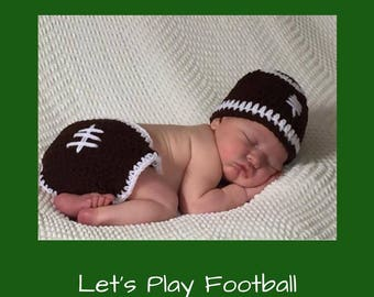 Crochet football Hat/Diaper Cover/Baby football Set/Crochet football Set/Football Set /Hat/Diaper Cover (Ready to Ship)