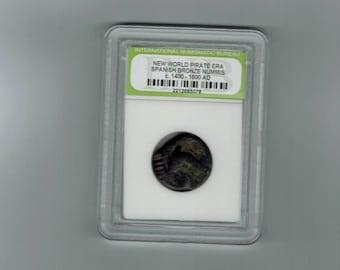 Ancient new World pirate era Spanish bronze nummis  C-  1400-1600- AD