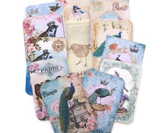 Scrapbook Paris Embellishment,BirdTags-Scrapset- Stamped Muslin Bag-Destash Paris Vintage-Bird Lover-French Album-Art Journaling-Gift