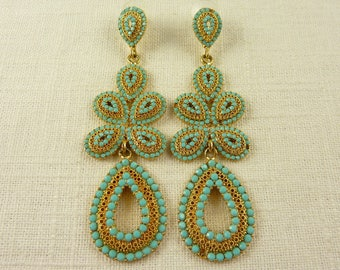 Vintage Gold Tone Filigree Turquoise Glass Long Drop Post Earrings