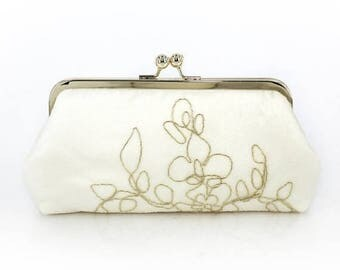 HALF PRICE SALE Ivory Bridal Clutch with gold thread + gold frame | Bridal Clutch Gift |  Ready to Ship