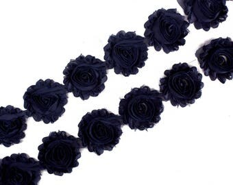 "Navy Blue : 14 Flowers  | 2.5"" Chiffon Craft Roses for Headband DIY Kits 