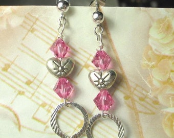 SALE, 50%, Rose Crystals with silver plated heart earrings, post earrings with heart and crystal, Valentines Day earrings, pink earrings sil