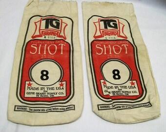 Vintage Ammunition Bags, Canvas Ammunition Bags, Vintage Tourament grade Shot 25 lbs Canvas Bags, Set of 2, Vintage