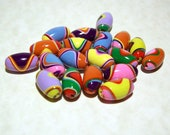 NOW ON SALE Handmade Polymer Clay Oval Beads  - Bright Bold Colors