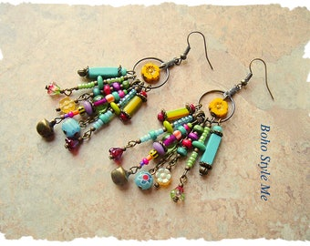 Boho Colorful Earrings, Bohemian Jewelry, Fun Dangle Earrings, Modern Hippie Boho Fashion, Boho Style Me, Kaye Kraus