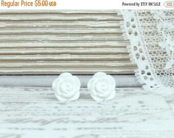 White Rose Earrings Rose Stud Earrings Small Rose Earrings White Flower Studs Hypoallergenic