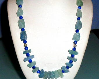 Aquamarine Lapis Lazuli and Sterling Silver Necklace Friendship