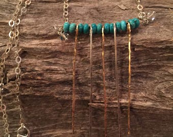 Sleeping Beauty Turquoise with Silver and Goldfill dangle necklace