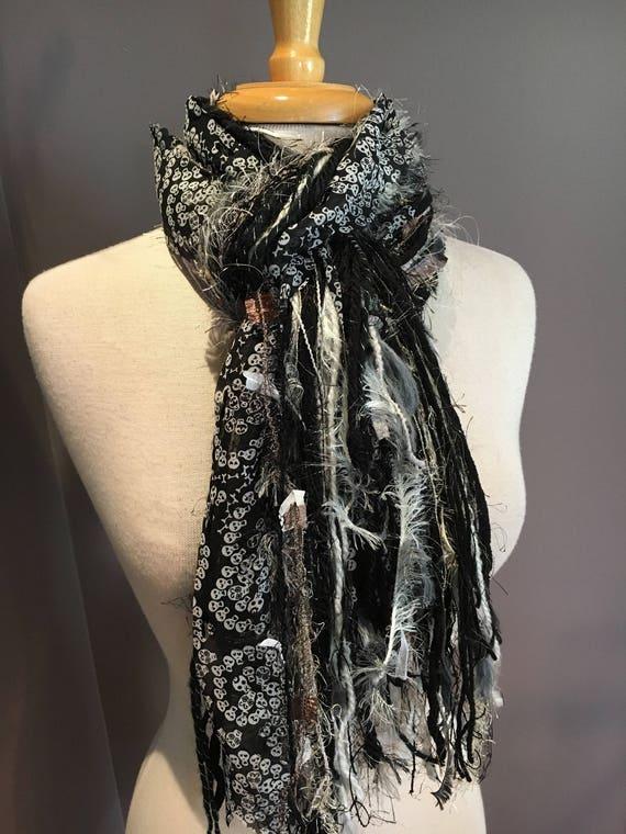 Fringie in Skull-tastic, Multitextural handmade fringe scarf, black white, skull print ribbon, boho chic scarf, ribbon scarves, yarn scarf