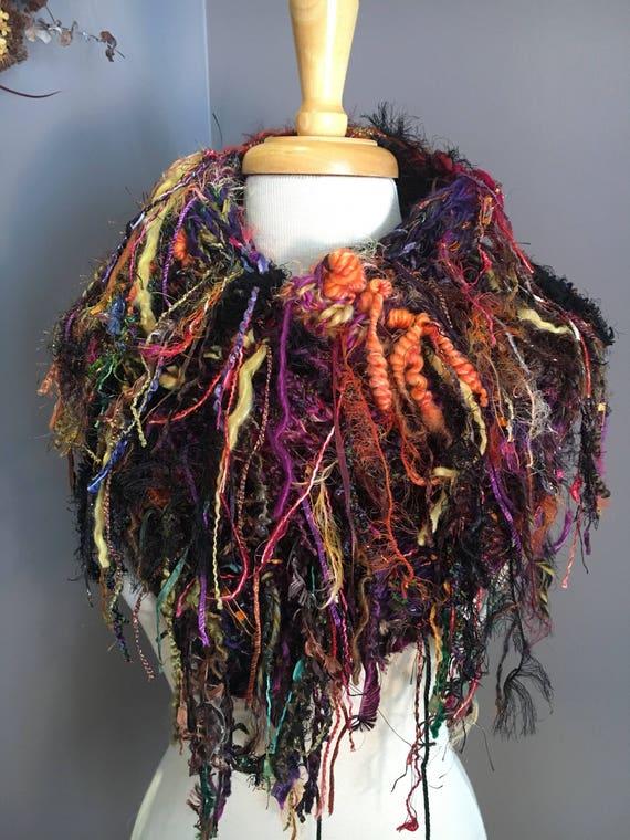 Fringed Plush Knit Cowl, Black Rainbow, Dumpster Diva, Boho Fringed Poncho, wearable art, art yarn, artwear, vibrant, chunky cowl, fringed