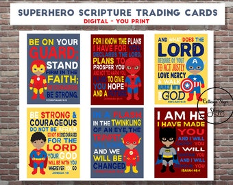 Superhero Scripture Trading Cards, Christian Trading Cards, DIGITAL, YOU PRINT, African American Superhero Trading Cards, Boys Trading Cards