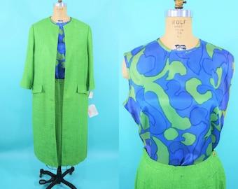 """1970s suit set   Wes-tal blue green printed shell top 3 piece suit   vintage 70s suit   W 28"""""""