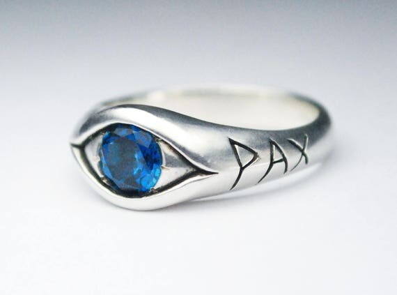 Jeweled PAX Eye Ring, Sterling Silver and Blue Topaz Peace Eye
