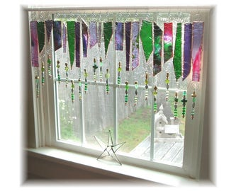 Garden Party NUMBER  TWO Green and Lilac Frit Glass Stained Glass Window Treatment Kitchen Valance Curtain