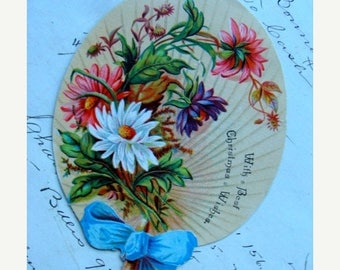 ONSALE Antique 1800s Christmas Stunning Trade Best Die Cut Lithograph Fan Trading Card Advertisement Holiday Sample N05