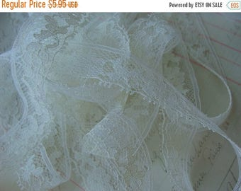 ONSALE 4 Yards Gorgeous Antique English Netted Vintage Lace Rich Ivory
