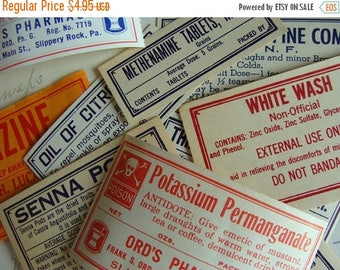 ONSALE Antique Medical Druggist Dozen Pharmacy Gummed Labels