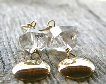 Summer Sale 20% Off Herkimer Diamond Gold Disc Earrings, Simple Quartz Earrings, Gifts for Her