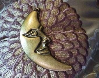 Crescent Moon large Bronze Pendant-Bronze Man in the Moon Pendant-Focal Moon Pendant