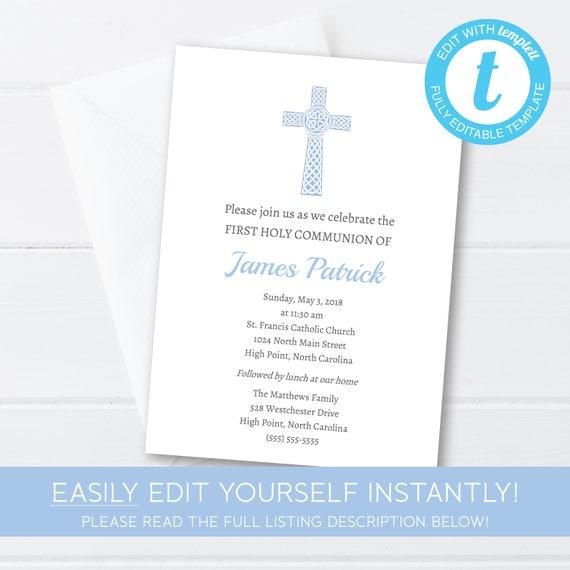 first communion invitation boys first communion catholic first