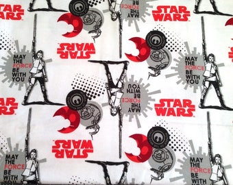 Star Wars The Last Jedi Rey & BB-8 Flannel Fabric sold by the yard and by the half yard