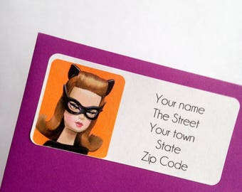 Catwoman superhero Return Address Labels stickers to personalise your stationary
