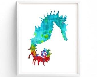 Nursery Art, Printable Seahorse Print Gender Neutral Nursery, Aqua, Blue, Ocean, Sea Creatures, Sea Life, Nautical Theme, Nursery Art