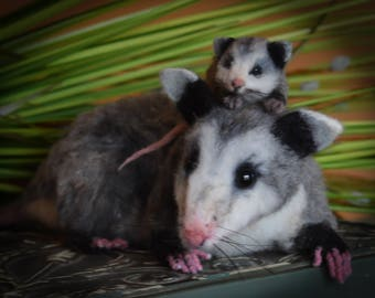Realistic Life Like Opossum w baby OOAK Needle felted Taxedermy Type Woodland Rodent Nocturnal Animal by ODACA Bear Artist Stevi T.