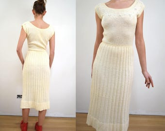 Vintage 40s Ivory Knit Beaded Dress XS/S 1950s 1940s 50s extra small pale yellow off white