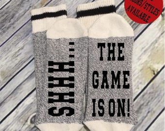 Word Socks - Novelty Comfy Cotton or Wool Men's Socks - Shhh... The Game is On - Funny Socks - Socks with Sayings - Custom