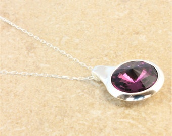 Swarovski Silver Circle Pendant Necklace with Amethyst Crystal Rivoli on Silver Plated Chain