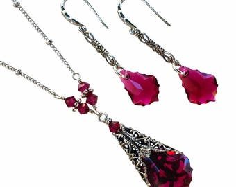 Vintage Neo Victorian Baroque Deep Berry Red Crystal  Necklace and Earring Set, July Birthmonth Necklace Earrings Set