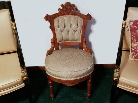 Gorgeous antique Victorian green pink upholstered button tufted brocade walnut burled wood inlay small side chair, sewing, vanity, boudoir