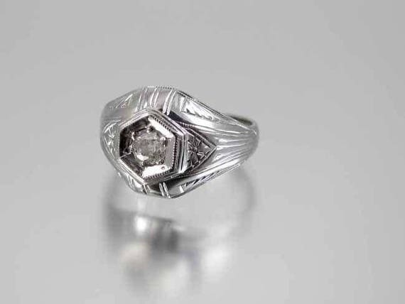 Antique Art Deco 18K white gold .25 carat European cut diamond solitaire ring, dome ring, engagement ring, size 6-3/4, vintage bride, bridal