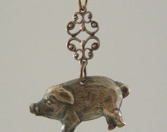 Vintage Pendant - Pig Necklace - Pig Charms - Farm Animal Jewelry - Brass Pendant - Brass Stamping - DIY Earrings - Vintage Stamping - 2psc.